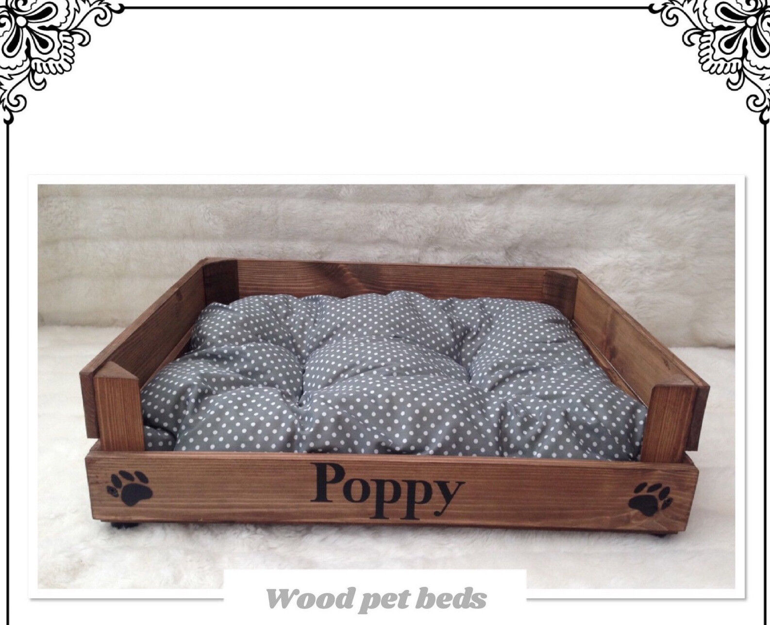 WOOD PET BED CAN BE PERSONALIZED FOR YOUR PUPPY CAT PUG DOG