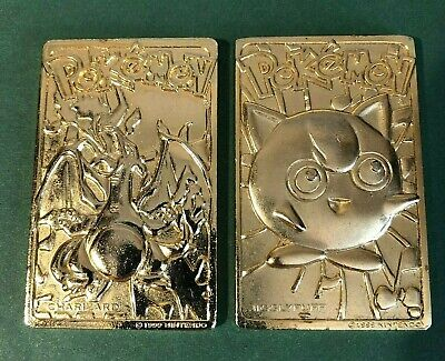 Pokemon 23K Gold Plated Charizard & Jigglypuff Lot 1999 Nintendo 6 39 Cards Only