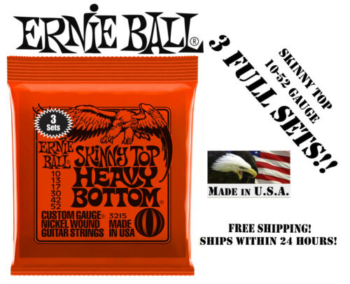 **3 SETS ERNIE BALL 2215 SKINNY TOP HEAVY BOTTOM ELECTRIC GUITAR STRINGS 10-52**