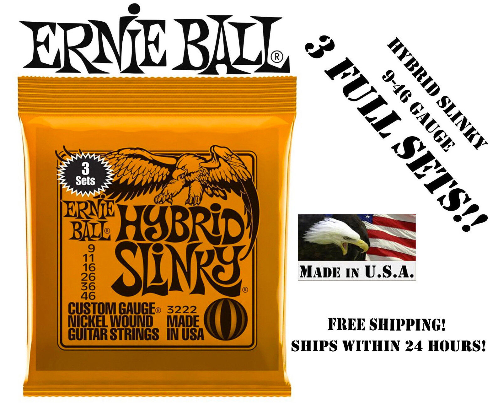 Купить Ernie Ball 2222 - **3 SETS ERNIE BALL 2222 HYBRID SLINKY ELECTRIC GUITAR STRINGS 9-46**