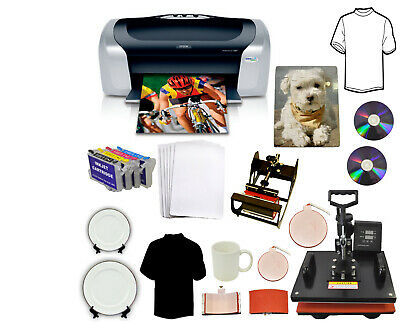 5in1 Pro Combo Heat Press Printer Dye Sublimation Kit Tshirt Mug Hat Start-up