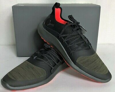 Puma Ignite NXT SOLELACE Spikeless Mens Golf Shoes - Burnt Olive Silver Black