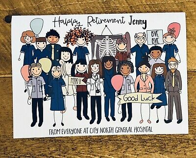 Nurse, Doctor, NHS, Large Retirement Leaving Card, From All of Us, Personalised