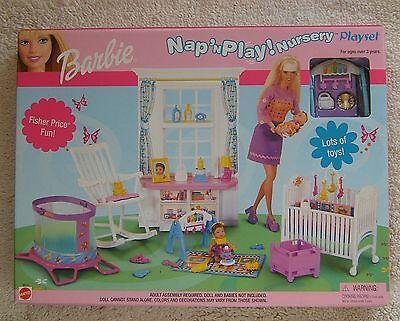 Barbie Doll Nap N Play Nursery Playset 88814 Mattel 2001 Fisher Price Retired