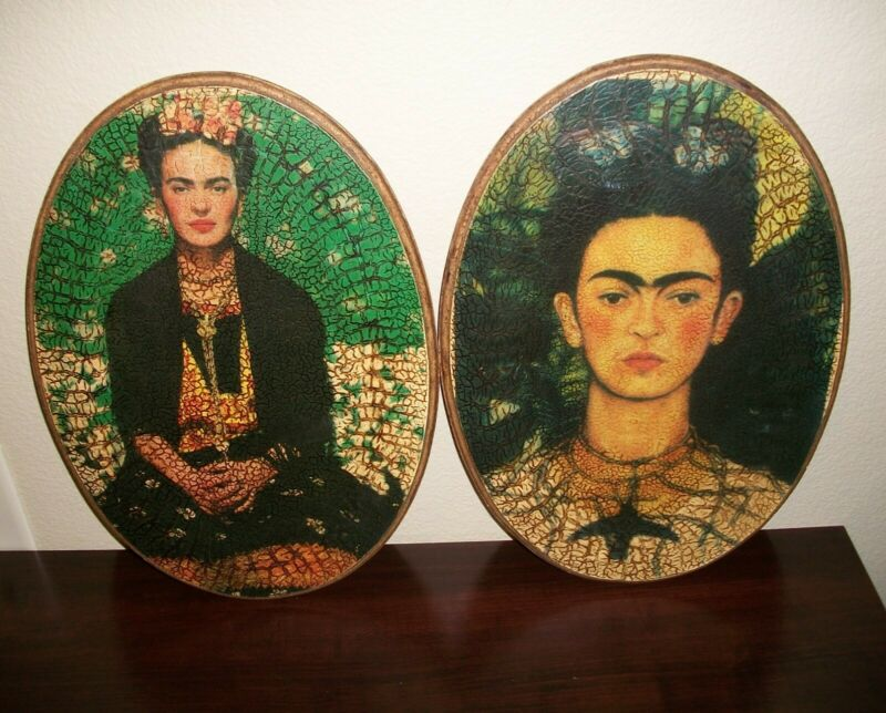 Frida Kahlo Decoupage Oval Wall Hangings - Previously Owned - Pair of 2
