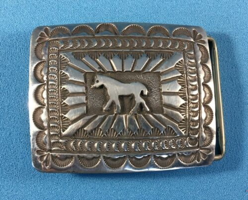 Navajo Cast Silver Horse Belt Buckle with Stamped Designs by Donovan Kinsel, NEW
