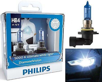 Philips Diamond Vision White 5000K 9006 HB4 55W Two Bulbs Head Light Low Beam OE