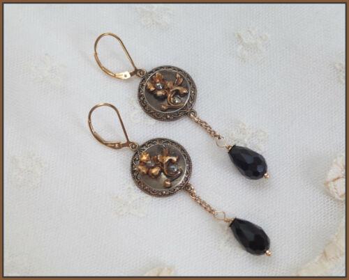 Antique Steel Cut Flower Button  Earrings Assembled 14K Gold Filled  Lever Back