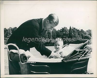 1949 Little Prince Charles Put In Carriage Original News Service Photo