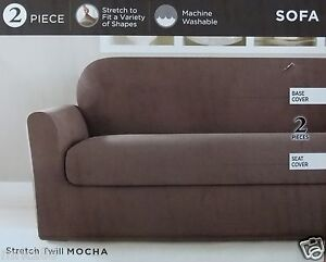 Surefit Stretch Twill 2 Pc Sofa Slipcover ~ NIP Mocha Brown