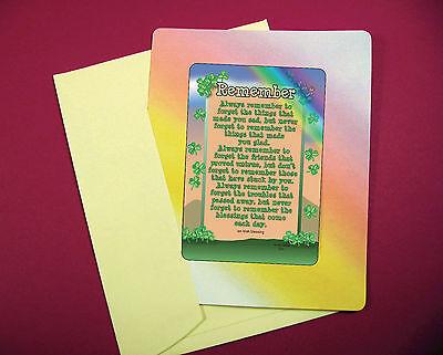 """Remember"" - An Irish Blessing - Keepsake Enclosed Verse Card - sku# 524"