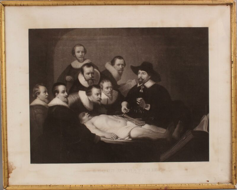 RARE Lrg Antique 19thC Corilliet/Rembrandt Heliogravure Medical Anatomy Lesson