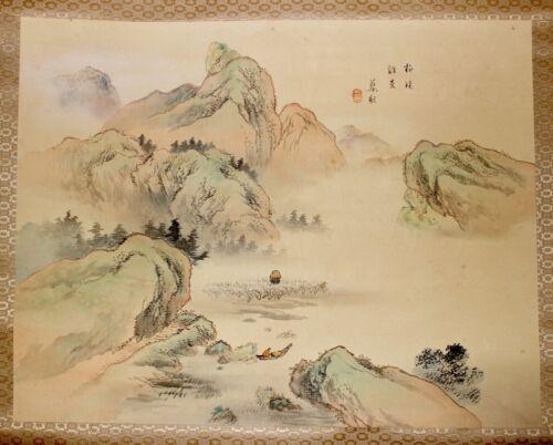 """Showa Japanese Ukiyo-E Landscape Hand Painted Kakejiku Scroll Signed Seal 46.5"""""""