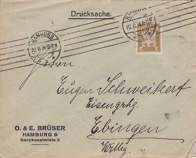 HAMBURG, Briefumschlag 1924, O. & E. Brüser