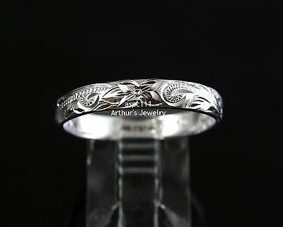 Ring - 4MM STERLING SILVER 925 HAWAIIAN PLUMERIA SCROLL BAND RING SIZE 1 - 12