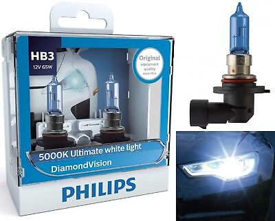 Philips Diamond Vision White 5000K 9005 HB3 65W Two Bulbs Head Light Replace OE