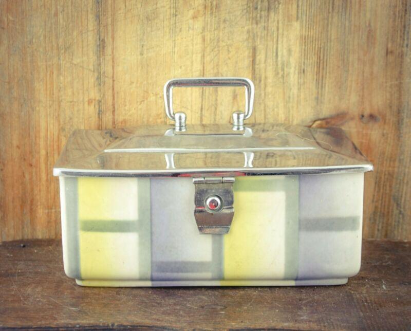 Antique VILLEROY & BOCH German Biscuit Jar Barrel Lunch box bin Canister