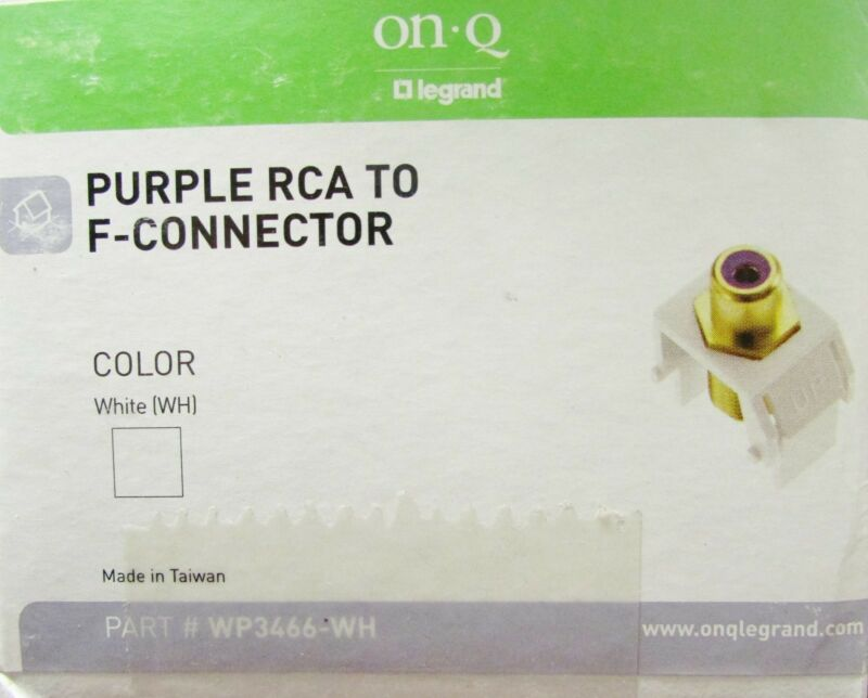 ON Q LEGRAND Purple RCA to F White Connector WP3466 WH