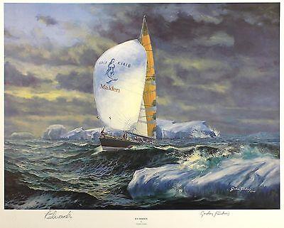 "GORDON FRICKERS ""Ice Maiden"" sail tracy EDWARDS LE SGD! SIZE:45cm x 56cm NEW"
