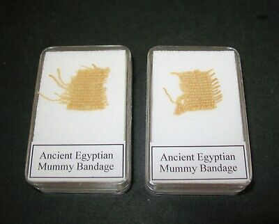 Ancient Egyptian Mummy BANDAGE 3,000 years old in display case