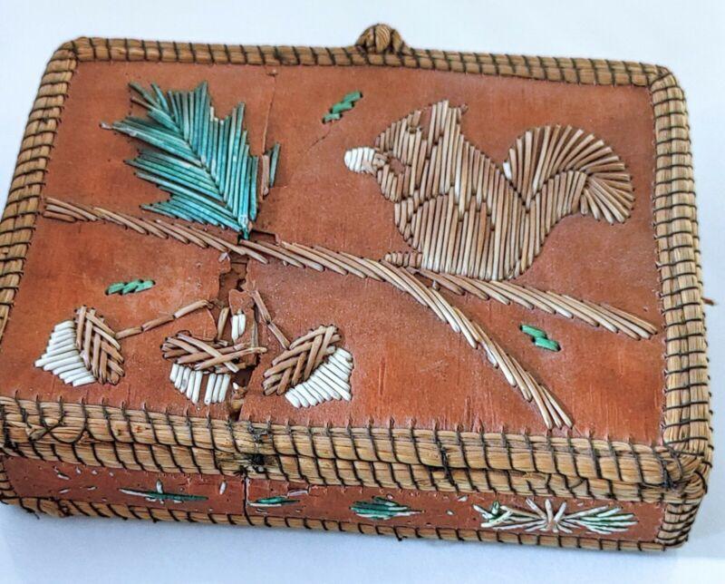 Antique Porcupine Quill & Bark Box Squirrel Motif- Native American Ojibwe