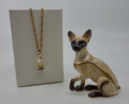 * WOW! SIAMESE CAT BEJEWELED TRINKET BOX WITH MATCHING NECKLACE *