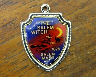 WITCH 1626 MASSACHUSETTS HALLOWEEN SHIELD charm #E18 RARE (Salem Massachusetts Halloween)