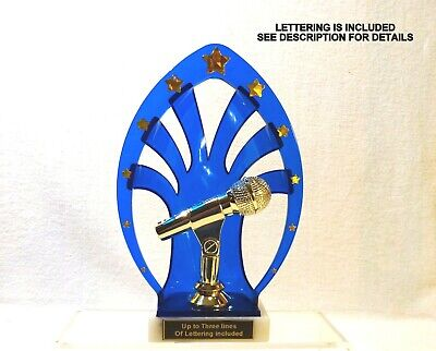 MICROPHONE TROPHY KARAOKE MUSIC   BLUE SHELL  - Microphone Trophies
