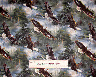 Eagle Bird All He Surveys Scenic CP45591 Cotton Fabric Wild Wings By The Yard