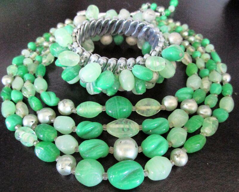 Gorgeous Green Glass Vintage Necklace Bracelet Set