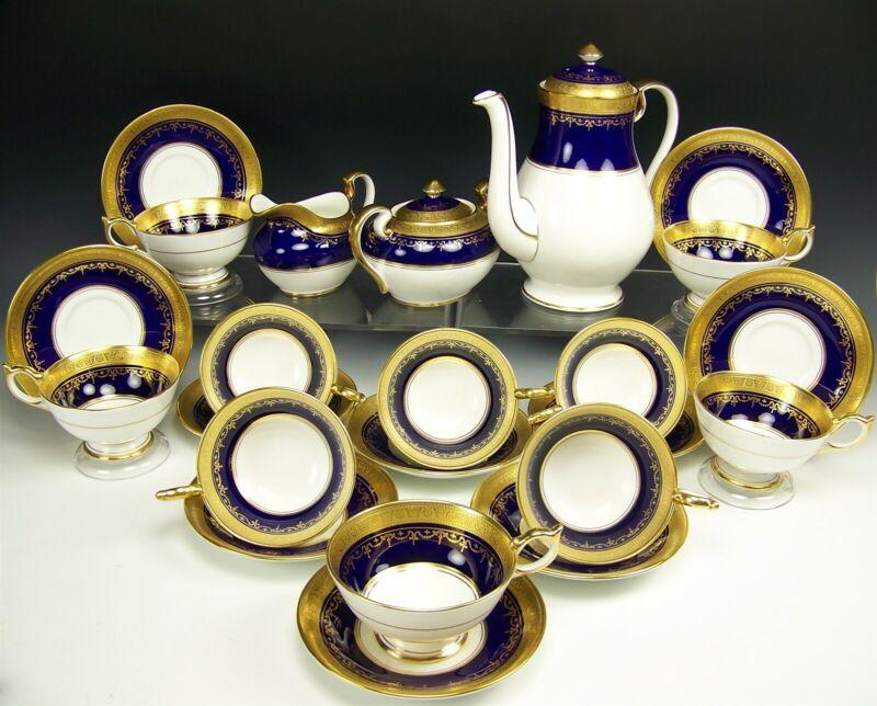 25 PCS AYNSLEY GEORGIAN COBALT (SMOOTH) COFFEE CREAMER SUGAR CUPS SAUCERS #7348