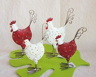 Metall Huhn Henne Hahn gepunktet weiß oder rot mit Punkte Landhaus Deko Ostern