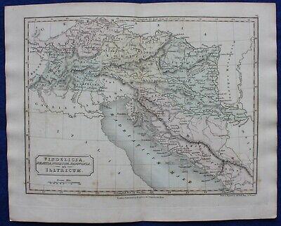 ANCIENT EUROPE, VINDELICIA, ILLYRIA, BALKANS, original antique map, Butler, 1851