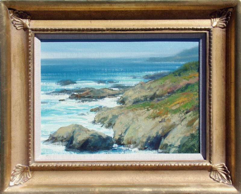"Matt Smith ""pacific Coastline"" Original Oil Painting Ocean Beach Scene Makeoffer"