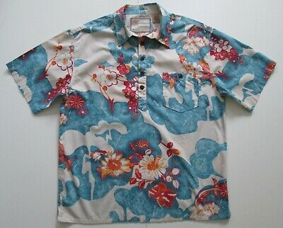 "Vintage 80s Auth Ruff Hewn Cotton Hawaiian 5 Button Polo Shirt 47""-122cm L (153H"