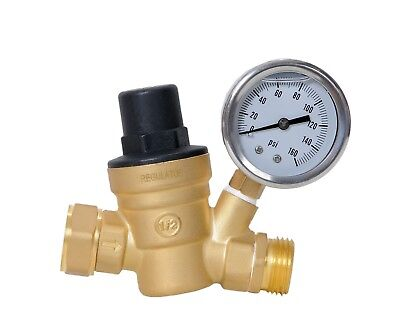 Adjustable Water Pressure Regulator 0-160 Psi Lead Free Brass With Oil Gauge