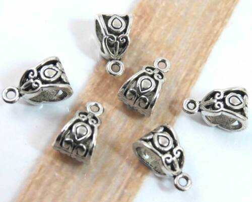 Set of 6 Drop Bails in Antique Silver Tone, Scroll Design, 13x8mm, DIY Necklace