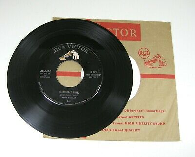 Elvis Presley Heartbreak Hotel I Was The One 45 RPM Record & Sleeve RCA Victor