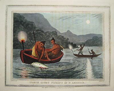 Fischen Fischer Harpune Fisch  altkolorierter Kupferstich in Aquatinta 1813 nr2