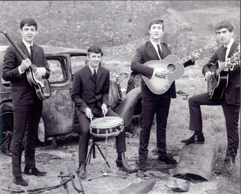 Fantastic  Beatles 8x10  black and white photo playing in junk yard