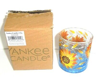 Yankee Candle SUNFLOWER Crackle Glass Votive Holder - Free Ship
