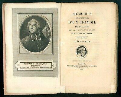 PREVOST ABBE MEMOIRES ET AVENTURES D'UN HOMME DE QUALITE FR. MAME 1808 3 VOLUMI