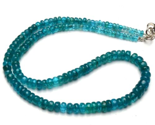 """Natural Gem Neon Blue Apatite 4 to 7mm Size Smooth Rondelle Beads 17"""" Necklace"""