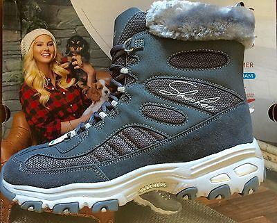 - Skechers  D'Lites Chalet Charcoal Faux Fur Collar Winter Boot- SiZE 11 NWB
