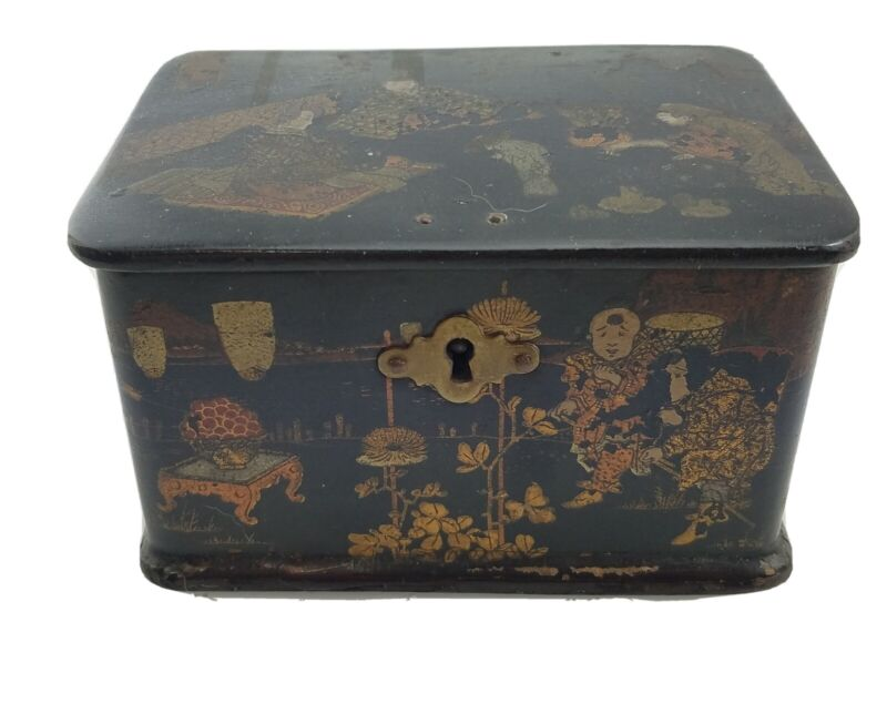 Antique Chinese Export Tea / Spice Caddy Box Paper Mache