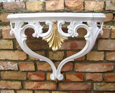Wall Console White Gold Antique 57cm Shelf Table Baroque Mirror Large