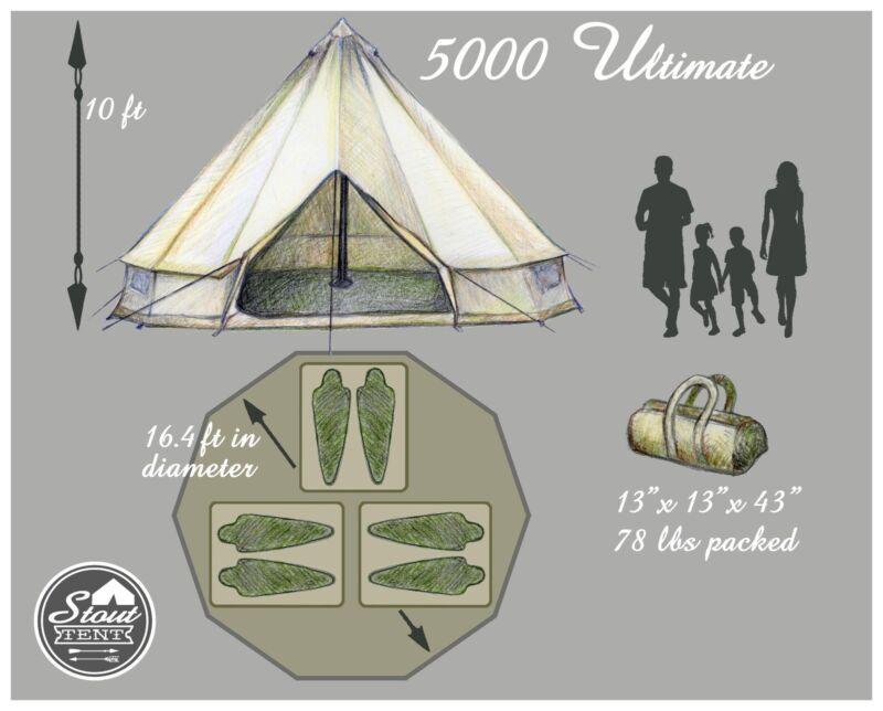 The 5000 Ultimate (16.5 feet in diameter/5 Meter)  sc 1 st  eBay & Bell Tent Basics - The Yurt Tipi Sibley Glamping Tent   eBay