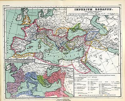 - 1903 old antique map IMPERIAL ROME ANCIENT WORLD empire Roman extent 0405001