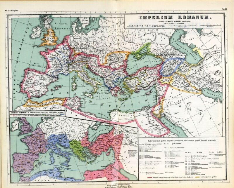 1903 old antique map IMPERIAL ROME ANCIENT WORLD empire Roman extent 0405001