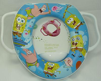 Baby Soft Padded Potty Training Toilet Seat With Handles Sponge Bob.